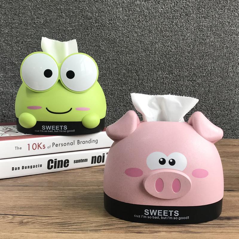 创意纸巾盒家用客厅茶几可爱卡通抽纸盒桌面卷纸筒餐巾纸收纳盒