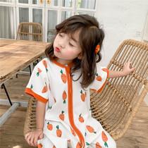 夏季宝宝纯棉短袖睡袋薄款连体分腿防踢被儿童空调房家居服睡衣