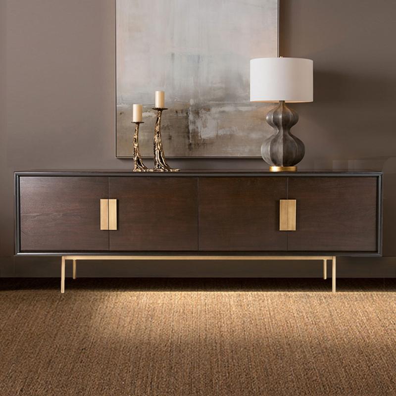 美式实木电视柜现代简约客厅小户型轻奢后现代北欧电视柜地柜定制