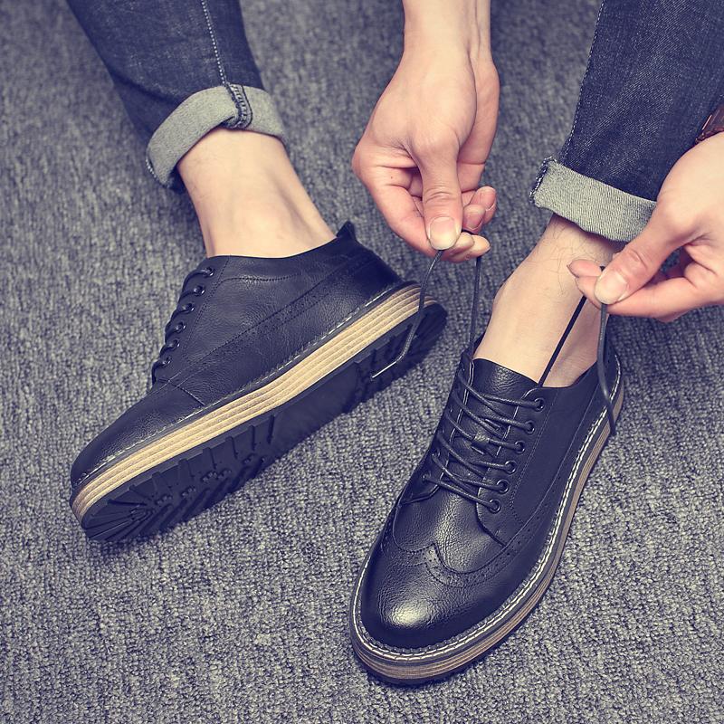 布洛克男鞋雕花圆头英伦休闲韩版潮流厚底皮鞋复古学生内增高男鞋