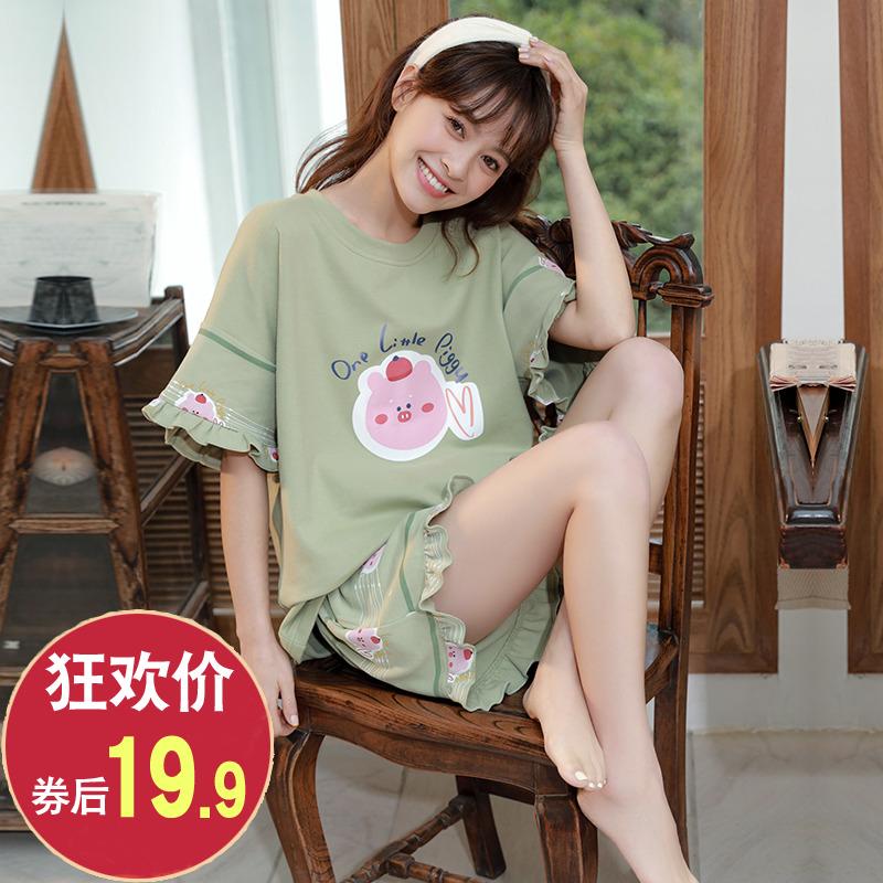 睡衣女夏季套装短袖女士两件套纯棉夏天韩版薄款学生春秋冬家居服