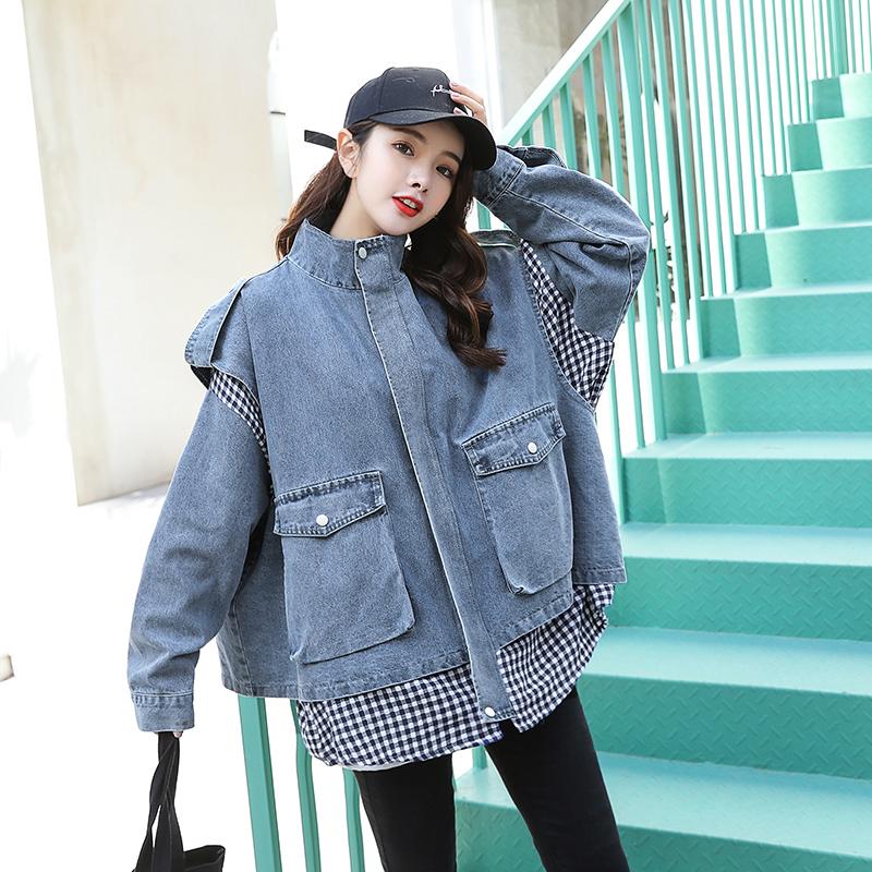 格子拼接假两件牛仔外套女春装2020新款韩版森系ins潮宽松长袖