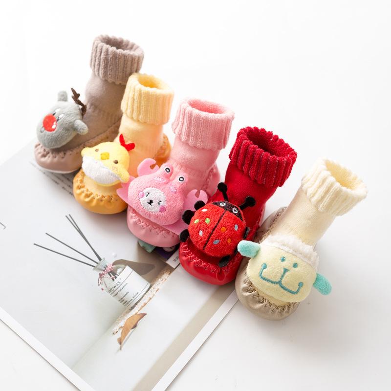 新生婴儿袜子秋冬季宝宝学步袜儿童地板袜防滑软底卡通加厚地板鞋