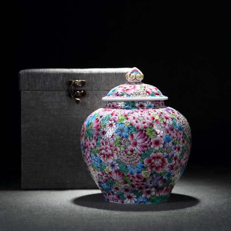 DH 陶瓷茶叶罐 景德镇通用 手绘密封罐 粉彩储茶罐子 中号存茶罐