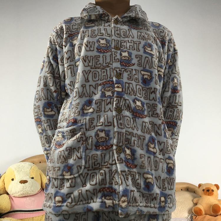 冬季新品法兰绒加厚单件睡衣上衣珊瑚绒情侣男女士家居服保暖上装