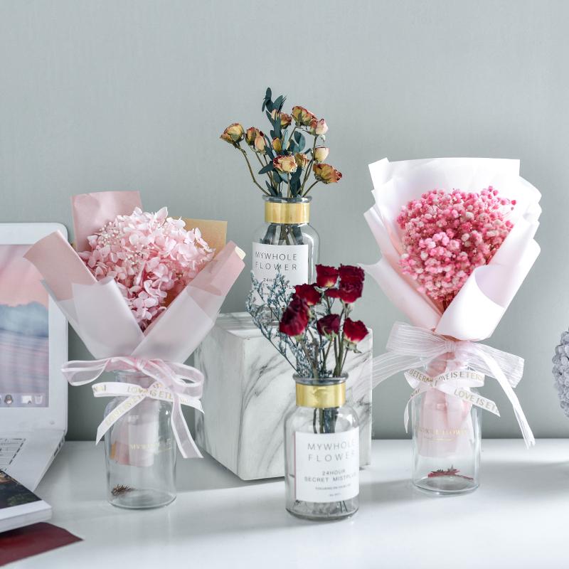 ins网红满天星干花小花束带花瓶真花客厅摆设装饰风干永生花摆件