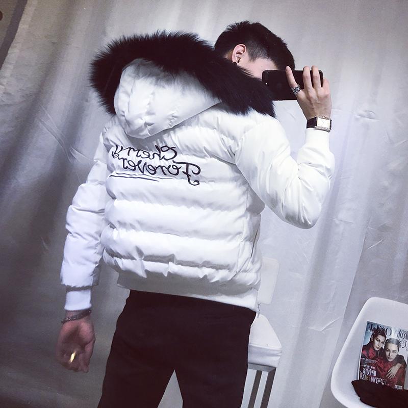 男士外套冬季2019新款韩版潮流帅气加厚刺绣棉服连帽毛领修身棉衣