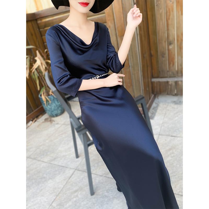 2020春装新款女神范气质高端长裙醋酸缎面高冷御姐风成熟连衣裙女