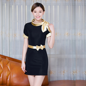 Front Office Foreman Waitress Female Dress Short Sleeve Slim Fitting Jewelry Shop Beautician Hotel Workwear Summer