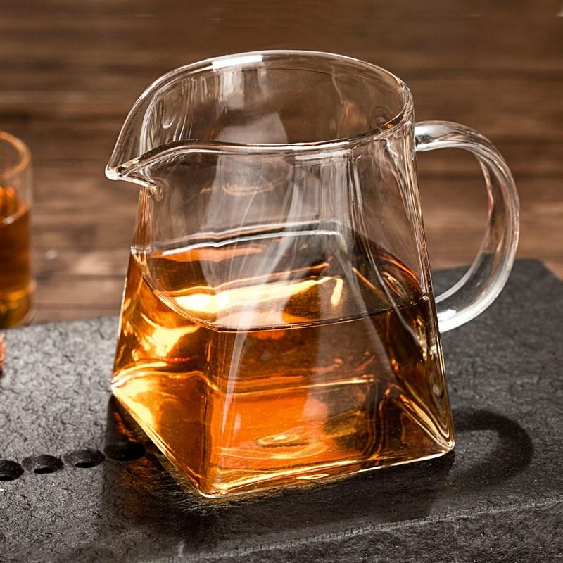 耐热高温加厚玻璃公道杯茶海公杯分茶器茶漏功夫茶具配件四方公杯