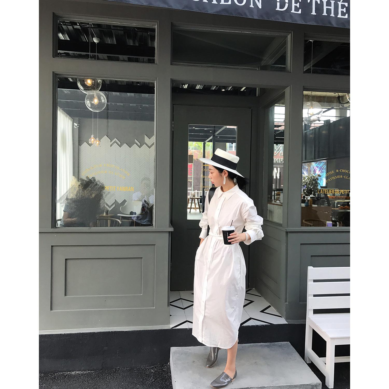 简约衬衫裙中长款秋装新款女白色系带宽松气质显瘦时尚长袖连衣裙