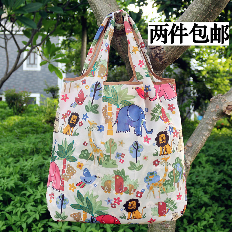 购物袋 新款 日本 时尚 便携 单肩 手提 卡通 超市 可折叠 环保 买菜 防水