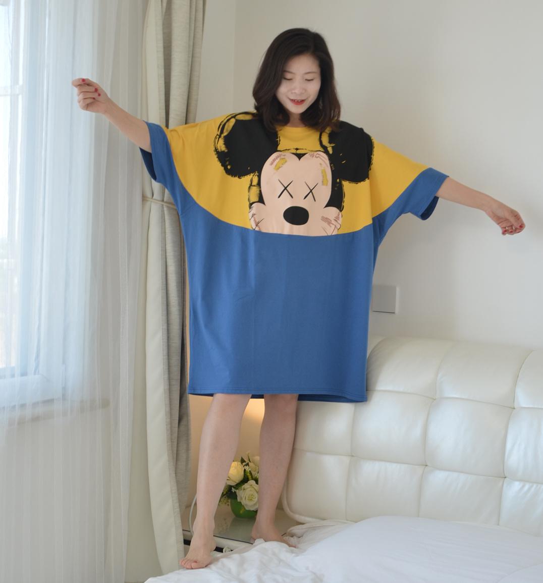 卡通T恤睡裙女夏季短袖纯棉宽松可爱外穿睡衣200斤加大码家居服
