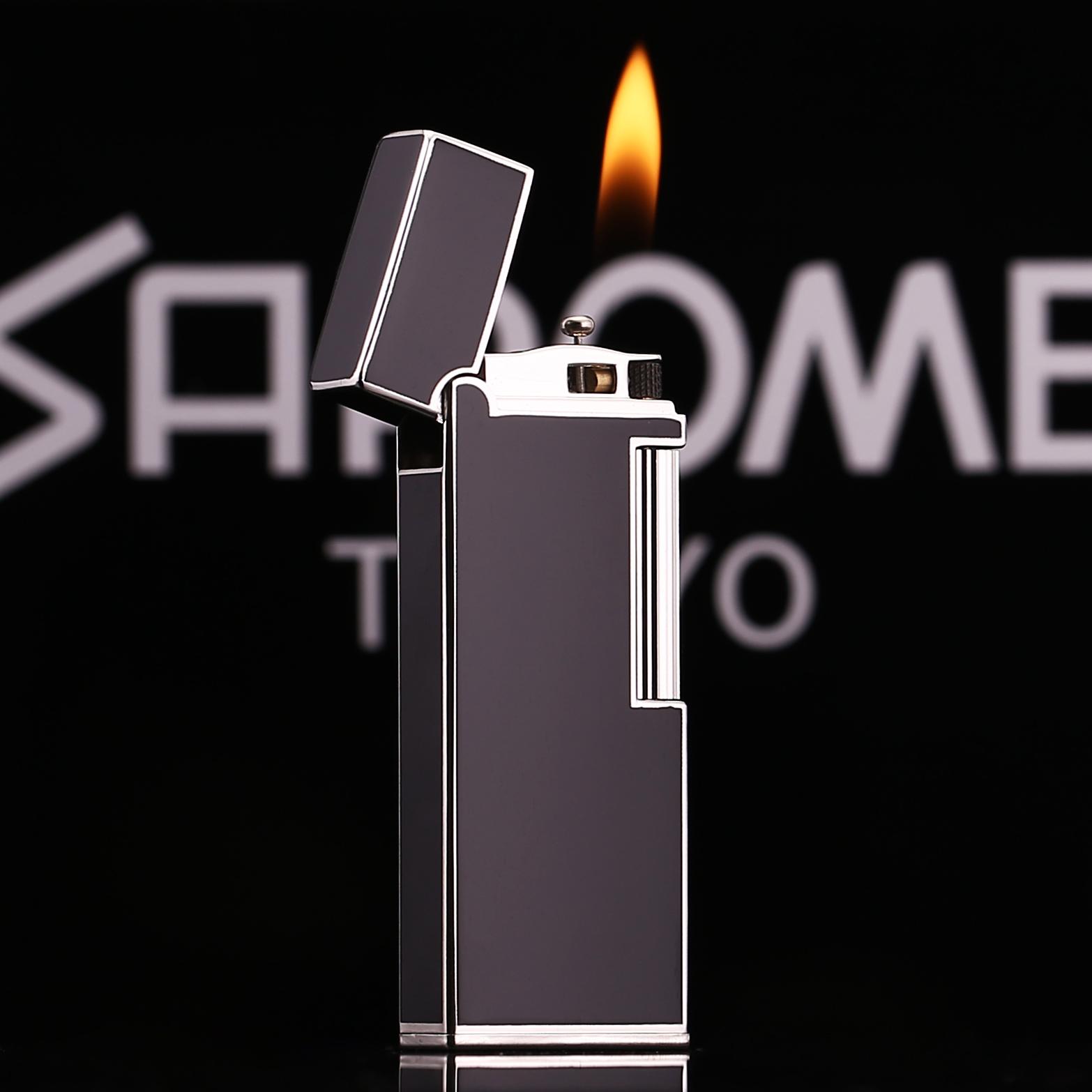 日本沙乐美充气打火机个性侧滑打火机砂轮气体窄版绅士创意打火机