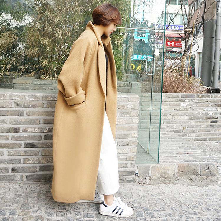 双面秋冬季韩版过膝宽松长款驼色毛呢大衣女西装大翻领呢子外套女
