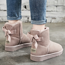 新式蝴蝶结真皮雪地靴女短筒冬季le12020ft靴子学生防滑棉鞋
