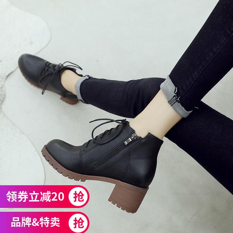 ZHR2018秋冬季新款马丁靴女英伦风短靴粗跟单靴百搭机车靴女靴子