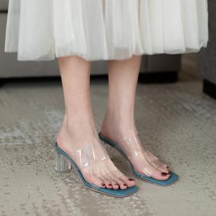 鹿与奈良性感气质仙女时尚网红ins透明水晶跟高跟一字拖鞋女凉鞋图片