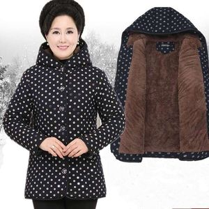 Middle-aged and elderly women's cotton coats, mother's winter clothes, grandma's coats, plus velvet thick cotton jackets, elderly mother-in-law clothes