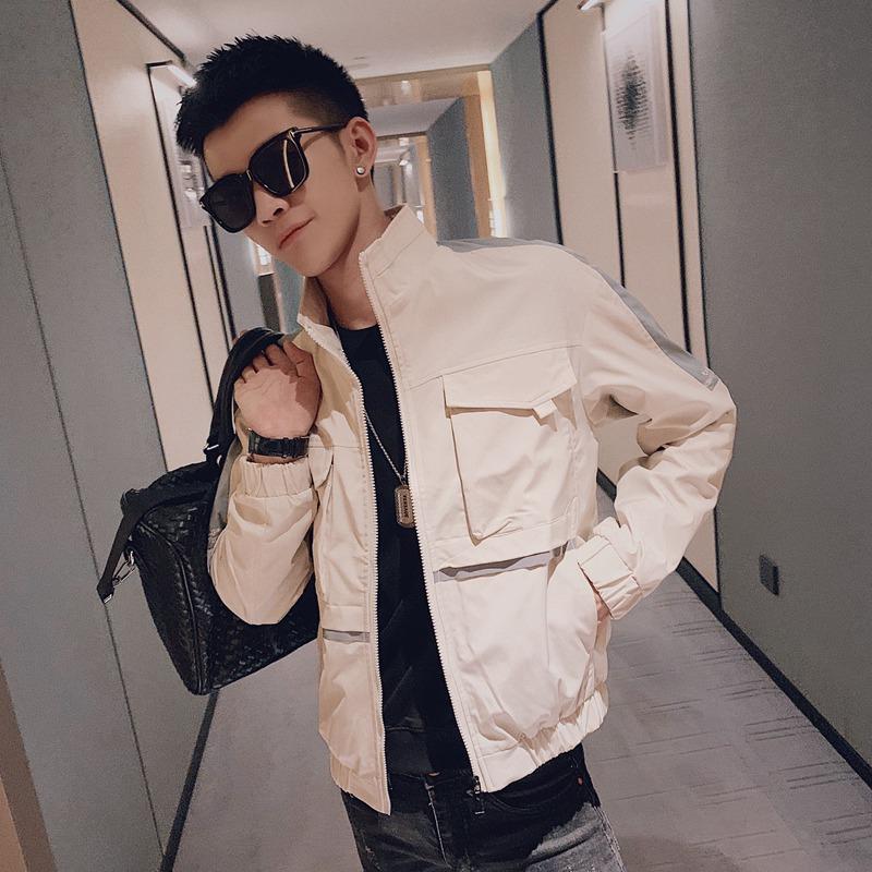 2019新款工装外套男韩版潮流帅气男士立领夹克衫秋季社会小伙上衣