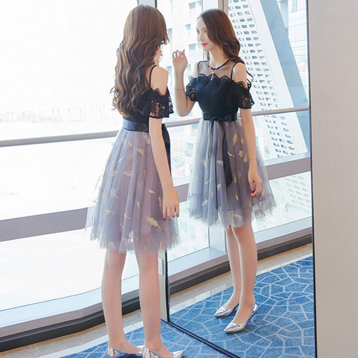 很仙的法国小众连衣裙女夏季2019流行女装新款一字肩蕾丝桔梗裙子