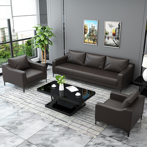 Office sofa office coffee table combination simple modern set negotiation meeting business reception three-person furniture