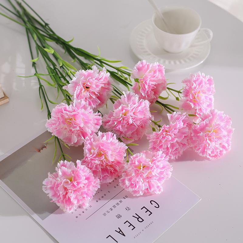 康乃馨仿真花束假花绢花干花艺客厅摆设餐桌摆件装饰花塑料情人节