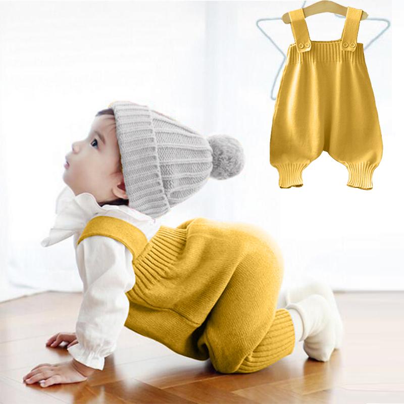 婴儿针织背带裤套装纯棉毛线裤+打底衫两件套