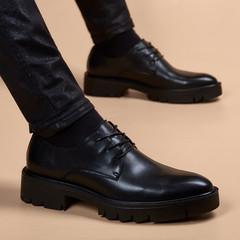 秋季新款男士商务正装真皮尖头休闲皮鞋青年英伦韩版厚底增高鞋子