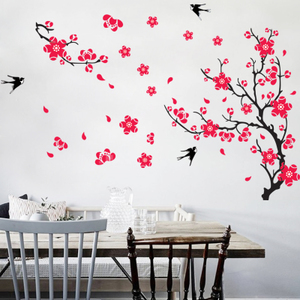 Magpie plum wall sticker living room sofa TV background wall sticker Chinese style decoration sticker glass decal