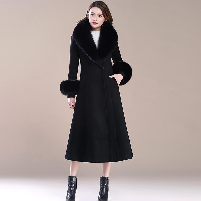 狐狸毛领羊绒大衣女长款2018新款大毛领气质显瘦