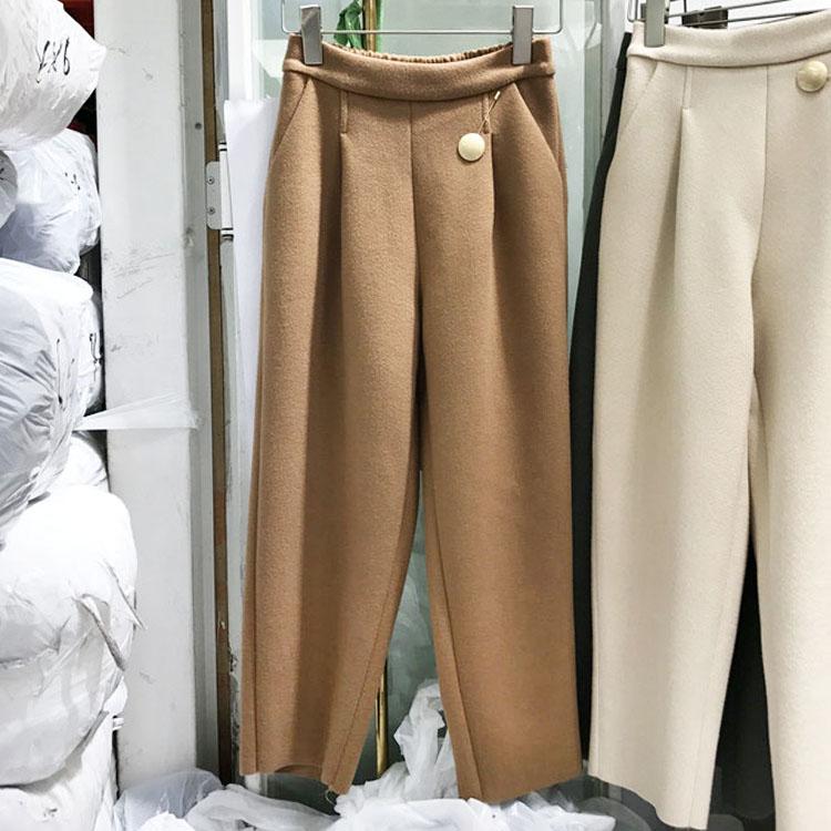 韩国东大门2017秋冬新款修身小直筒呢料裤收腰女加厚保暖呢子长裤