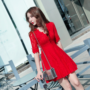 2019 spring and summer new middle-sleeved red lace dress women ladies V-neck high waist was thin a-line dress skirt