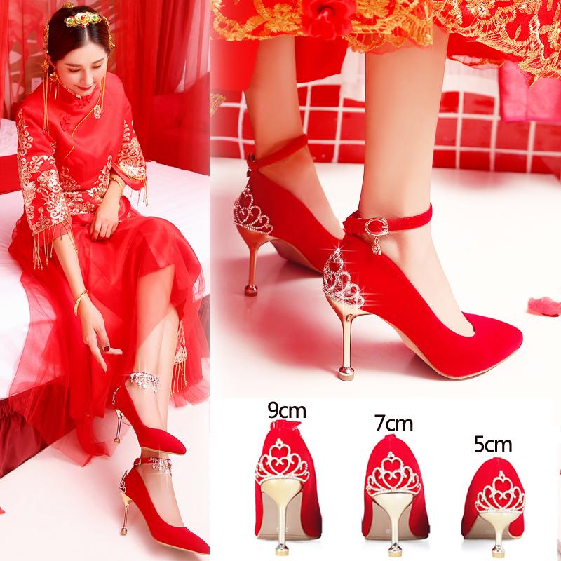 秀禾鞋婚鞋女2019新款红色高跟鞋中跟细跟结婚红鞋敬酒韩版新娘鞋