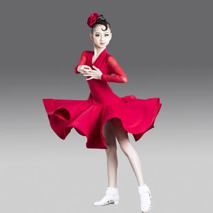 新款拉丁舞服装比赛服标准舞蹈规定服表演服艺考大裙摆练功服女童图片