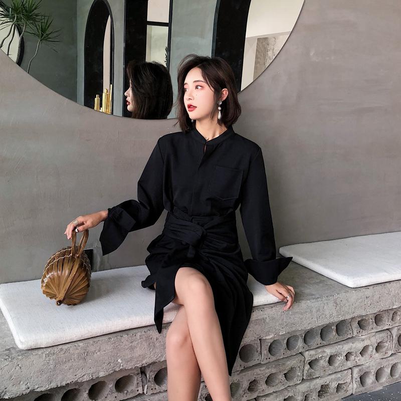 秋装 新款 黑色 短裙 长袖 立领 初恋 复古 连衣裙