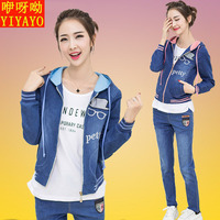 2016 autumn the new Korean version of junior high school students girls high school students denim sweater suit three-piece 14-16 years old