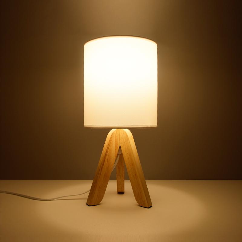 创意台灯暖光卧室北欧装饰简约现代时尚个性结婚温馨木书桌床头灯-瞪灯猫家居