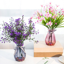仿真玫瑰花束塑料假花艺by8居客厅摆00几摆件装饰花盆栽