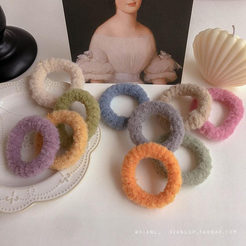 韩国网红ins森系羊羔毛皮筋女扎头绳韩版可爱橡皮筋发圈发带头饰图片