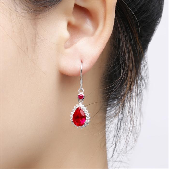 红宝石耳环925纯银镀18k金镶嵌红碧玺彩色宝石欧美时尚水滴形耳坠