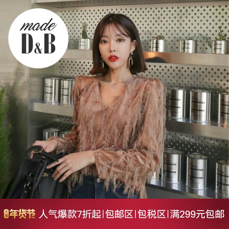 韩国 正品 冬季 新款 女装 性感 修身 流苏 点缀 女衫