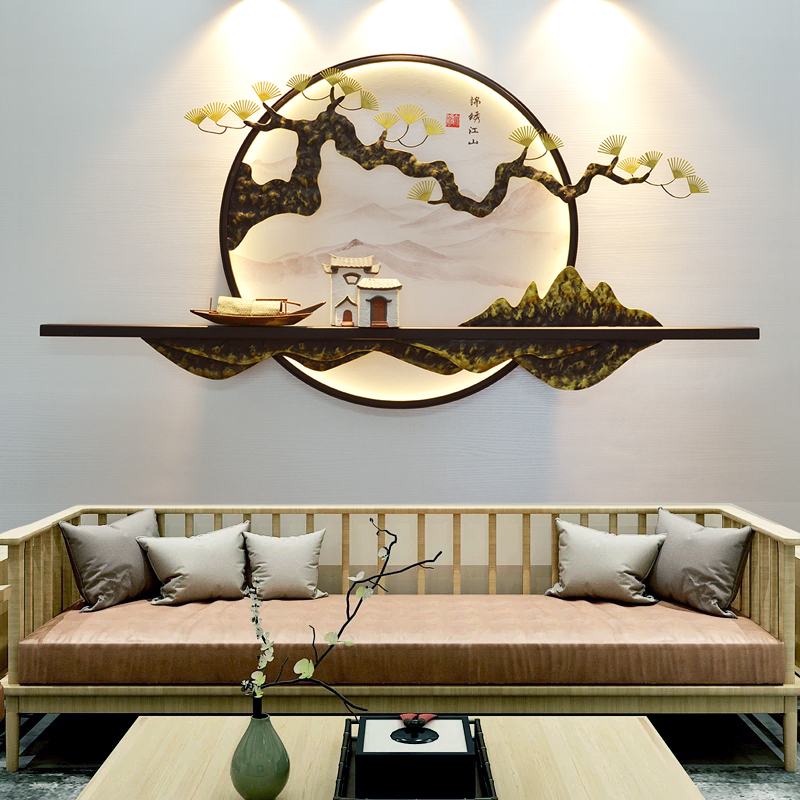 新中式客厅玄关茶室书房壁饰挂件背景墙饰山水挂画墙面创意置物架