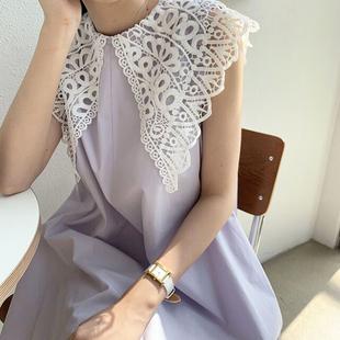 韩国chic夏季小众复古镂空蕾丝大翻领宽松长款过膝无袖连衣裙女图片