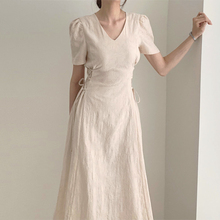 韩国chic气质法款花纹6n9领修身显su边绑带中长款短袖连衣裙