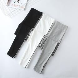 夏季薄款侧白边运动打底裤女细条纹弹力紧身瑜伽裤纯棉九分小脚裤