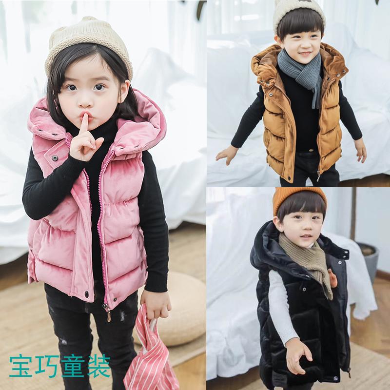儿童羽绒棉袄马甲男童女童秋冬季外穿宝宝洋气加厚小孩带帽金丝绒