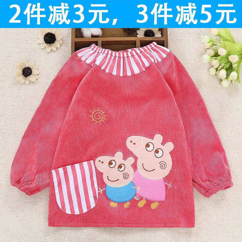 儿童罩衣冬季加厚灯芯绒反穿罩衣宝宝长袖防水