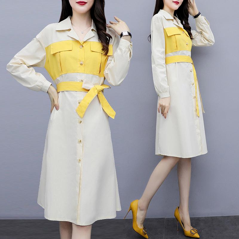 9759#实拍2020春装新款大码女装时尚拼色中长款衬衣连衣裙