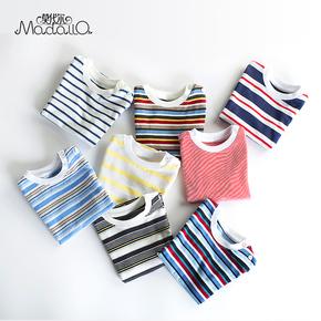 莫代尔横条纹短袖T恤夏季 女宝宝婴儿童衣服纯棉男童t恤短袖上衣